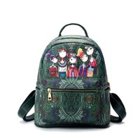 Wholesale Leather School Satchel Kids - fairy forest PU backpack style girls fashion designer backpacks women leather bags green school bags kids teenagers rucksack