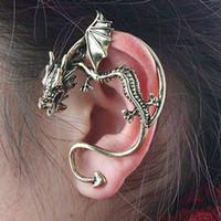 Wholesale Mens Earrings Wholesale - Vintage Ear Cuff Earrings Dragon Punk Womens Mens Clip On Earring Jewelry wholesale