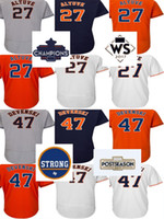 Jerseys Baratos Del Parche Baratos-Cheap 2017 Houston Strong WS Campeones Parche Hombres Mujeres Jóvenes Toddler 27 Jose Altuve 47 Chris Devenski Home Visitante Alternate Baseball Jerseys