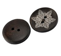Wholesale Sew Buttons 25mm - Kimter Deep Brown Color Snowflake Pattern Round Wooden Sewing Buttons With 2 Holes 25mm For Sewing Embroidered Collector Pack Of 50pcs I610L