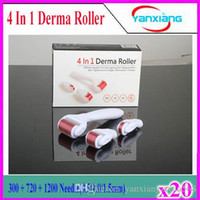 Wholesale Remove Eye Bags - New 4in1 Derma Roller Acne pits Electric microneedle Remove eye bags Remove acne pits 4 in 1 derma roller high quality 20pcs YX-GL-01