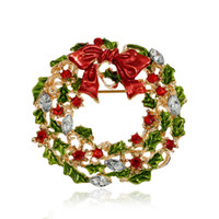 Wholesale Christmas Wreath Pins - Wholesale- New Arrival Christmas Rhinestone Brooches For Women Cute Style Multicolor Bow-knot Wreath Brooch Pins For Girls Fashion Jewelry