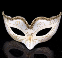 Wholesale Gray Masquerade Masks - Masquerade Ball Dance Mask Fashion women Costume Fancy Dress Prom Eye Mask Mardi Party wedding masks Gold Glitter Edge Gift