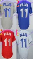 Wholesale Majestic Cool Base - 2016 Majestic Official Cool Base Stitched 40th Season Toronto Blue #11 Kevin Pillar White BLue Red Gray Jerseys Mix Order