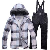 Wholesale Warm Waterproof Winter Jackets - Wholesale- 2016 winter ski jacket pants womens suit waterproof warm ski jacket women+snowboard pant sport skiing sets snowboard ski suit