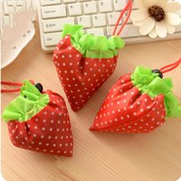 Wholesale Strawberry Fabric Wholesale - Strawberry Shopping Bag Foldable Handbag Creative Fruits Storage Bags Easy To Carry Pouch Portable Organizer Pocket Eco Friendly 1 55hd A
