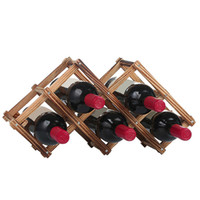 Wholesale Wood Glass Rack - Newly Wine Rack 6 10 Wood Bottle Holder Folding Stand Display Shelf Home Ornaments Fashion Mug Tea Glass Draining Holder JE0280
