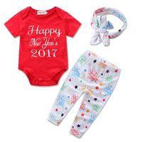 Wholesale Kids Headband Brand - Baby Girls Romper Sets 2017 Kids Girl Letter Print Jumpsuit+Pants+Headband 3pcs Suits Newborn Infant Birthday Gift Outfits Children Clothing