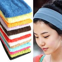 Wholesale Mens Hair Bands - Women Mens Sports Headband Sweat absorption breathable Cotton Hairband Stretchy Sweatbands Yoga Gym Hair Head Band Ladies Hair Accessories