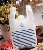 tekne malzemeleri toptan satış-100 adet 18 * 34 cm mavi şerit tekne çapa dekorasyon açık sarı ambalaj çanta plastik torba tatlı / şeker / hediye çantası çanta parti malzemeleri