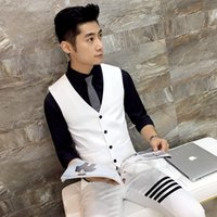 Wholesale Mj Clothing - Wholesale- Men's suit vest White trend Slim fit Casual party wedding dress vest High-quality business gentleman fashion men's clothing MJ
