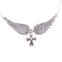 Wholesale Silver Biker Necklace - Wholesale- eejart Angel wing cross necklace women biker jewelry gifts W  crystal adjustable antique silver plated wholesale dropshipping