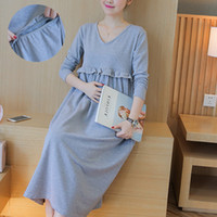Wholesale Tea Length Cotton Casual Dresses - 2017 Cotton Maternity Casual Dresses Clothes for Pregnant Women SizeM-2XL Summer Women Dress Pregnancy Clothing vestido longs