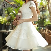 Wholesale Sleeve White Lace Dress Vintage - Dabuwawa Spring Summer Fashion Trend New O-neck Short Sleeve Midi Lace Casual Women A-Line Dress White Elegant Dresses Pretty Women