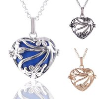 Wholesale Heart Locket Necklace Sale - hot sale Angel Wing Cage Locket Pendant Pregnancy Chime Necklace Pendant Hollow out Heart Float Locket for Mom Baby M016