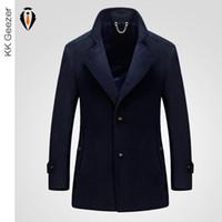 Wholesale Wool Cashmere Coat Sale - Wholesale- Winter Fashion Men Wool Blends Cashmere Coat Long Section Woolen Coat Duffle Overcoats Jackets Mandarin sleev Business Hot Sale