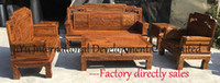 Wholesale Home sofa in pieces living room wood furniture african rosewood luxry wood seater carving sofa sets with nice lacquer craft