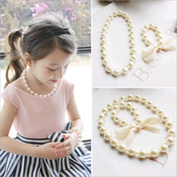 Wholesale Wholesale Pearl Necklace For Kids - Wholesale Korean Kids Necklace Bracelet Set for Baby Girls Exaggerated Big Beads Pearl Jewelry Set White Color