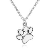 Wholesale Pet Designs Silvers - New design silver necklaces dog paw pendant necklace fashion pet oil drip necklace free shipping