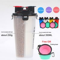 ingrosso bottiglia di acqua portatile dell'animale domestico-Bottiglia portatile per l'idratazione a doppia camera H-Duo di Popware Dog con ciotola pieghevole per animali domestici