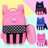 Wholesale Book Bag Color - Kids school bag children bags kids love heart printed double backpack 3 color boys girls waterproof casual backpack child book bags T4388