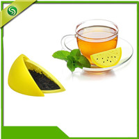 Wholesale Herbal Gel - 3 8wf Fruit Shape Filter Stainless Chain Teas Infusers Two Colors Lemon Tea Leaf Strainer Silica Gel Herbal Spice Infuser Tools Creative