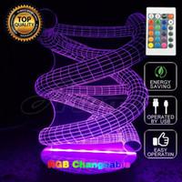 lumières nocturnes multicolores achat en gros de-3D Creative Cadeau Télécommandé Mood Lampe Multicolore Spirale Night Light Bulbing Lumière Pour Enfants Chambre Livraison gratuite
