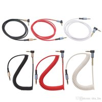 Wholesale Spring Coiled Cable - New Aux Cable Woven Fabric 3ft Wire Spring shape metal Auxiliary Cable For Samsung phone PC MP3 Headphone Speaker