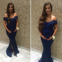 Wholesale cheap baby caps - Newest Dark Navy Mermaid Bridesmaid Dresses Off the Shoulder Maternity Dresses Cheap Lace Sweep Train Front Split Baby Shower Dress BA7007