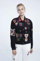 Wholesale Corduroy Coat Ladies - New Womens Ladies Tiger Animal Premium Embroidered Corduroy Bomber Jacket Coat Size SML Wholesale