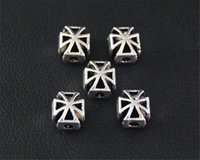 50Pcs Antique Sliver Cross Spacer Beads Charm Jewellery Pendant для браслета ожерелья 7.5X6.5mm A2110