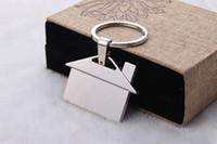 brindes promocionais jóias venda por atacado-12 pcs Por lote Personalizar Chapeamento De Prata Casa Forma De Metal Keyfinder DIY Promocional keychain Presente Acessórios de Jóias
