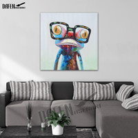 ingrosso animali da pittura ad olio astratta-Rana felice indossando occhiali Cartoon Animal dipinto a mano pittura a olio su tela Modern Abstract Wall Art Bedroom Decoration