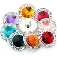 Wholesale Pressed Beads - Beauty DIY Noosa Button Alloy+Crystal+Glass Snap buttons jewelry Accessories press studs rivca button for Bracelets Rings Pendants