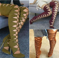Wholesale Women Thigh Boots Leather - green  brown wine red suede leather lace up high heels thigh high boots 2017