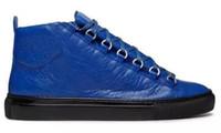 moda gri ayakkabı erkekler toptan satış-2017 yeni ücretsiz kargo Moda dantel-up Gri Hakiki Deri Yüksek Top Kalite Erkekler sneakers Ayakkabı Lüks tasarımcı Casual Flats yüksek ayakkabı S