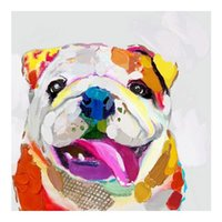 Wholesale Life H - Abstract Funny Dog Cartoon,High Quality genuine Hand Painted Wall Decor Abstract Animal Art Oil Painting On Canvas ali-M&H