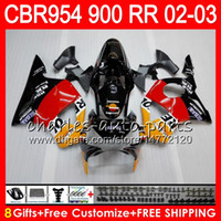 Wholesale Repsol Cbr - Body For HONDA CBR900RR CBR954 RR CBR954RR 02 03 CBR900 RR 66HM1 Repsol orange CBR 900RR CBR 954 RR CBR 954RR 2002 2003 Fairing kit 8Gifts