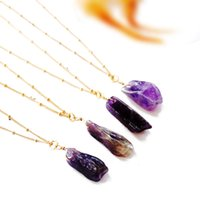 Wholesale Multi Stone Pendants - Drusy pendant necklaces purple natural stone gemstone pendant multi-layers jewelry valentine's gift bulk
