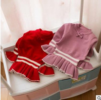 Wholesale Purple Stripe Sweater - Kids baby sweaters girls Preppy style bows falbala Flare sleeve pullover children white stripe convergent sweater 2017 new clothes G0313