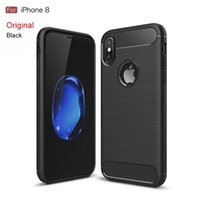 Wholesale Shell Case Blackberry - For iphone 8 case 6 7plus 5s SE Mobile phone shell carbon fiber drawing tpu all-inclusive apple 8 case protective cover