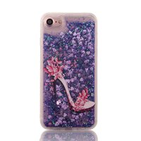 Wholesale Pink Bling High Heels - High-Heeled Shoes Heart Glitter Stars Dynamic bling Liquid Quicksand Soft TPU Phone Back Cover Case For iPhone 6 For iPhone 6S 7 Plus