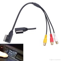 Wholesale Dvd A3 - AMI MMI RCA 3RCA DVD Video Audio Input AUX Cable Wire For VW For Audi AMI A3 A4 A6 A7 A8 Q5 Q7 R8 Car Accessory #BA61