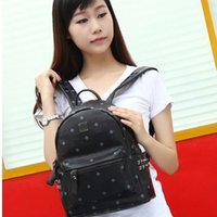 Wholesale Leather Computer Backpack For Women - New Arrival Fashion School Bags Hot Punk style Women Backpack Rivet Crown Student Backpack PVC Leather Lady Bags size for 35*30*15cm