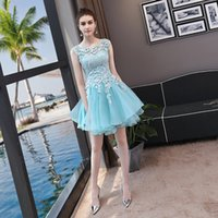 Prom Dress 2017 Sweet Light Blue Tulle Scoop Neck Reißverschluss Back Lace Ballkleid Stickerei Kurze Mini Sleeveless Party Brautjungfer Kleid