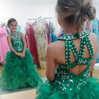 Wholesale Emerald Green Color Dresses - 2017 girls pageant dresses Emerald Green Beads Sequins Crystals Halter Sleeveless Ruffles Toddler Pageant Dresses for Teens Hollow Back