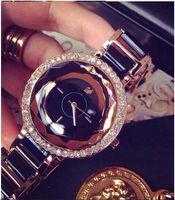 genf damen diamant quarzuhr großhandel-Retro- Quarzfrauenkleiduhren Diamantfrauen strahlen Uhren Genferilberarmbanddame Armbanduhr aus