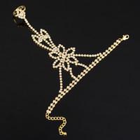 Wholesale Hand Chain Bride Bracelet - Bridal Chain Bracelet Wedding Dress Accessories Bride Rhinestone Fashion Accessories Bridesmaid Hand Chain Bracelet Adorned Jewelry sets