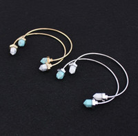 Wholesale Druzy Bracelets - Hot Kendra Scott druzy Adjustable Bullet turquoise Stone Bracelet Bangle, Gold and silver palted, Free Shipping and hign quality