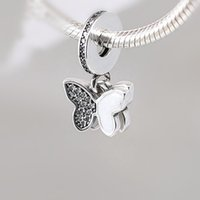 Wholesale Silver Butterfly Dangle Beads - Two White Butterfly Mounted CZ Charm Bead Dangle 925 Sterling Silver European Retro Style Women Jewelry For Pandora Bracelet Factory Supply